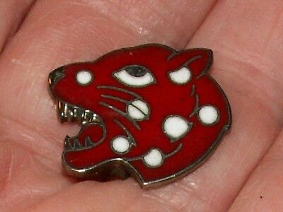 Vintage Sterling Silver Enamel Pin Brooch Red Leopard Cheetah Head White Spots