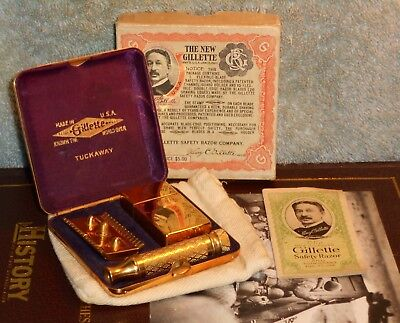 1922 NOS Gillette Tuckaway Gold Complete Set W Instructions
