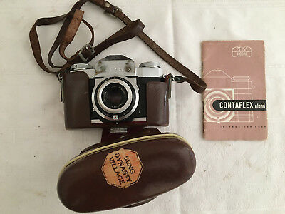 Zeiss Ikon Contaflex Alpha & instruction booklet / Case & Strap - Good Condition