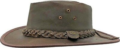 Leather Hat Australian Cowboy Western Bush Style Outback Mens Ladies 100% Summer
