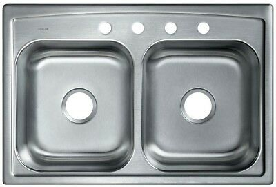 TOP MOUNT DROP Stainless Steel 33 in 4-Hole Double Bowl Kitchen Sink ...
