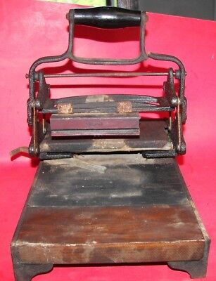 Antique Cast Iron/Wooden Hand Operated Tabletop Block Printing Press STEAM PUNK