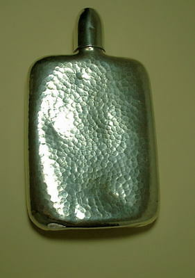 Sterling Silver Hip Flask With Cup - Hammered Design