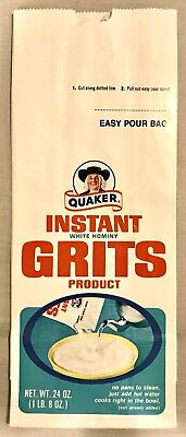 Vintage 1970's Quaker Oats Instant White Hominy Grits Product Bag,unused Flat