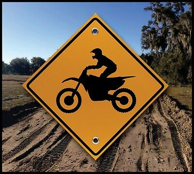Dirt Bike Crossing Sign  /  REFLECTIVE  /  Trail Marker / Toolbox / Fun Decor
