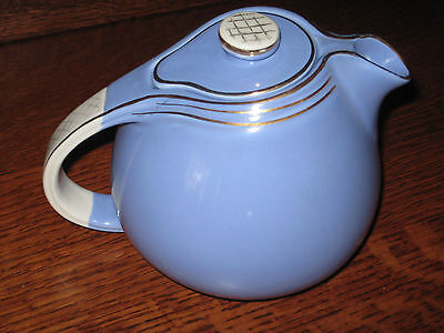 "Vtg ""hall 6 Cup Blue Teapot #0809 Usa"" Awesome & Rich In Color"