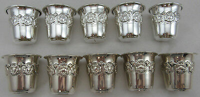 Sterling Silver 925 Set Of 10 Mini Liquor Cups With Floral Design 174 GRAMS