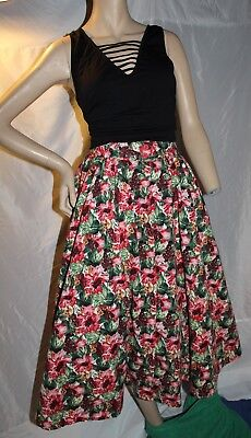Vintage Herman Geist Full Circle 50's Skirt Floral 14 Retro Summer Red Small