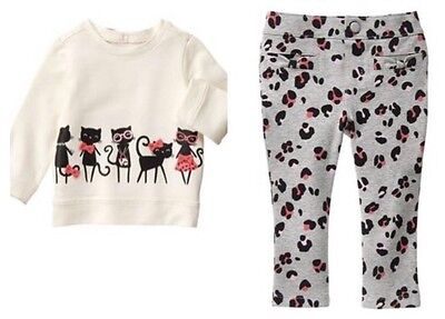 Gymboree Kitty in Pink 2T Cat Shirt & Animal Print Pants Set Gray Black
