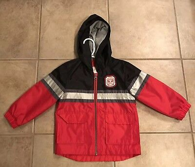 CARTERS BOYS FIREFIGHTER JACKET - Rain Jacket Windbreaker SIZE 3T EUC
