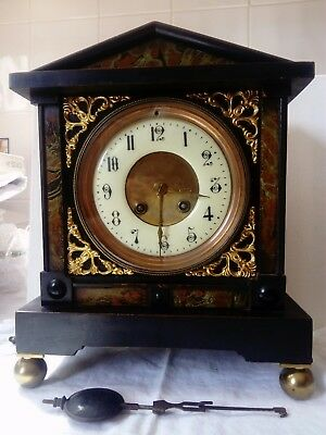 Vintage Wood Pendulum Clock, With Very Nice Face, No Key,