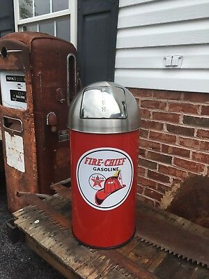 "Texaco Fire Chief Trash Can SS Top Very Nice 29"" Tall 12 Gal."