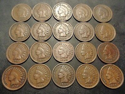 Lot #237) 20 nice coins all 1900's brown in color indian head penny 1C cent lot
