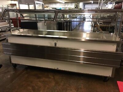 "96"" Mobile Cafeteria Style Ice Down Buffet w/ Sneezeguards"