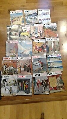 Lot of 19 Vintage Saturday Evening Post Magazines Late 1950's