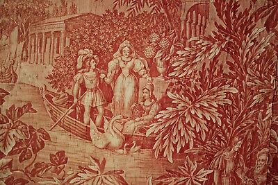 Antique French toile de Normandy c 1820 red quilted textile linen backed