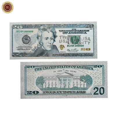 WR US Banknotes Colored Silver Foil $20 Bill Dollar Collection Gifts For Father