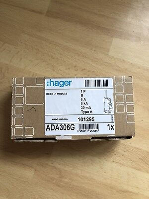 Hager RCBO Reduced Height 1P 6kA B Curve - 6A, 30mA Type A(AC & Pulsating DC)