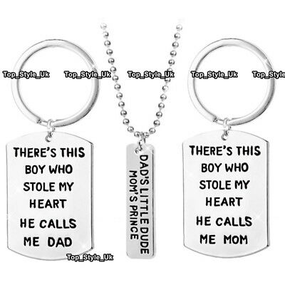 SON GIFTS FOR Him Dad Her Mum Birthday Presents Matching Set Keyring Necklace E4