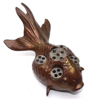 SALE Vintage KOI FISH FLOWER FROG Holder Pot Metal Brass Finish Japan