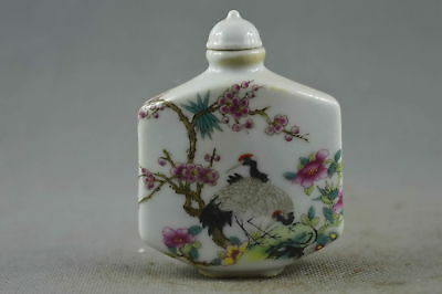 Chian Collectable Handwork Porcelain Paint Noble Crane Delicate Snuff Bottle