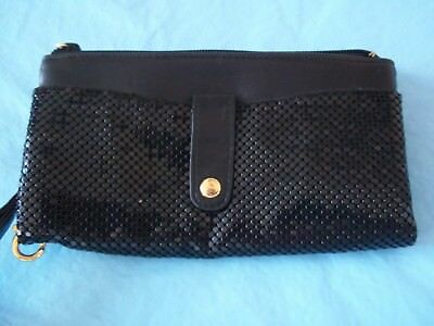 Whiting and Davis Bi-Fold clutch Wallet Black Metallic Metal Mesh NWOT 2008