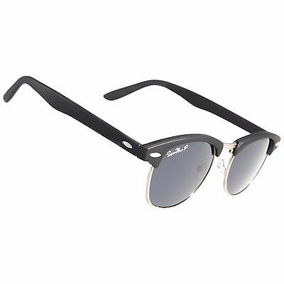 *POLARIZED Black with Black Clubmaster FREE Shipping Retro Vintage Sunglass 2018