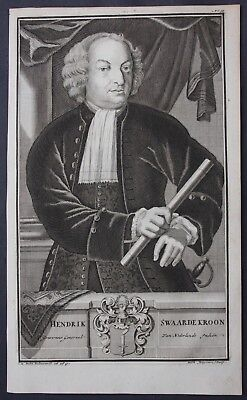 1726 Hendrick Zwaardecroon Governor East Indies Portrait engraving Valentijn