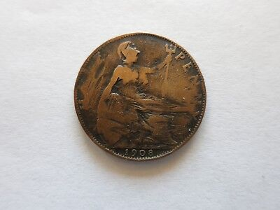 UK Great Britain 1908 Half Penny Edward VII Coin