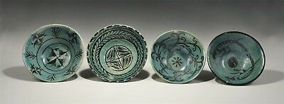 Antique Islamic Fatimid Style Glazed Bowl Group (4 total)