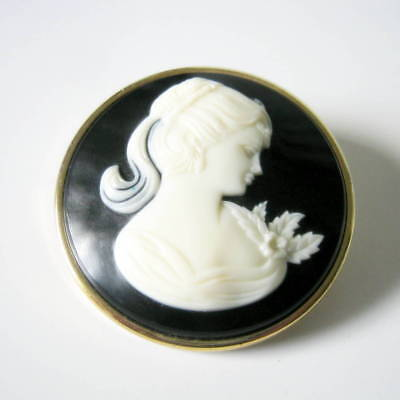 Large Cameo Brooch, Vintage Acrylic Black and White Cameo Brooch, Brooch