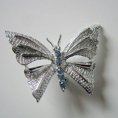 Butterfly Brooch Pin, Vintage Signed Gerry's Shiny Silver Tone Pin Brooch