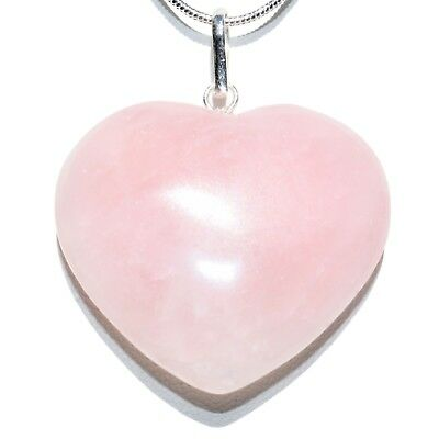 "CHARGED Himalayan Rose Quartz Crystal HEART Pendant + 20"" Silver Chain"