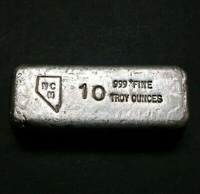1960 NCM 10.00 Oz Old Pour Weight 999 Fine Silver Mining Bar Ingot Nice Coin