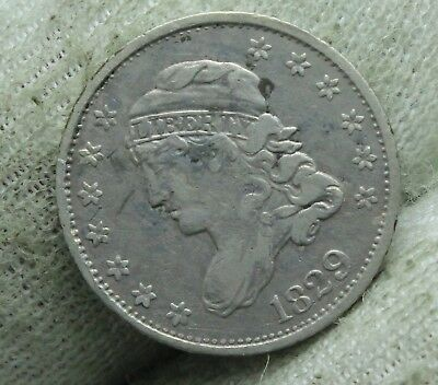 1829 US Liberty Capped Bust Half Dime Silver Coin 5 cents