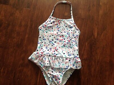 Nwt Baby Gap Toddler Girl Onepiece Swim Suit 4Years Mint/heart