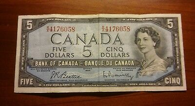 1954 Bank of Canada $5 Five Dollar Bill R/X4176058 Circulated