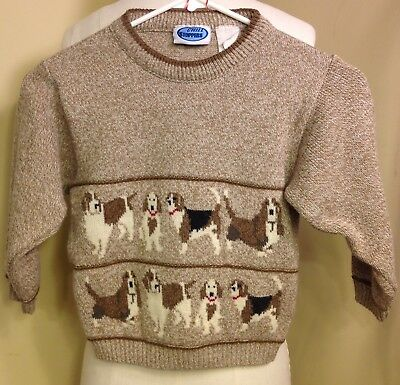 Dog Vintage Sweater Boys Beagle Basset Hound 5/6 Brown Wool B13