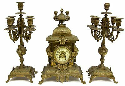 19Th C. French JAPY FRERES Antique Gilt Mantel Clock & Candelabra Garniture Set