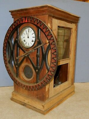 "vtg Dey Time Register clock factory cast iron industrial oak 35"" recorder job"