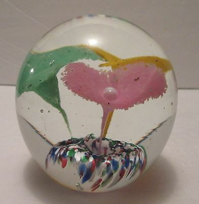 Gentile Glass WV Art Deco Style Paperweight Flowers Controlled Bubbles & Clip