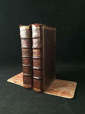 GENUINE Pair REAL BOOK Bookends Handmade 18th Century Leather Books EUROPE PERU