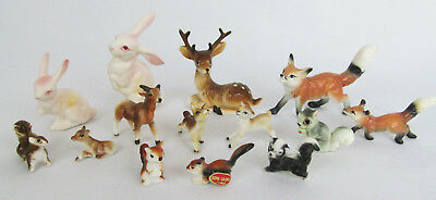 Vintage Lot 14 Miniature Bone China Deer Fox Rabbit Skunk Squirrel Figurine Lot