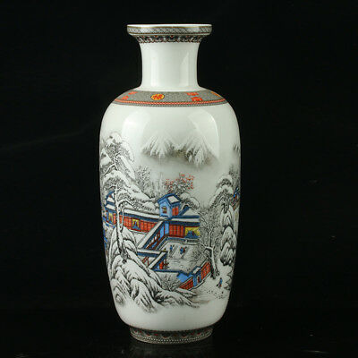 Chinese Porcelain Hand-Painted Snow Landscape Vase Mark As The Qianlong Period