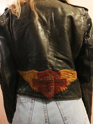 Vintage Leather Harley Davidson Jacket Patch Punk Sixties 1960s 60s 60's Womens