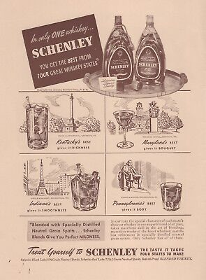 1941 Vintage Print Ad for Schenley Whiskey - KY MD IN PA
