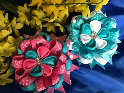 Beautiful Blue & Pink White Dots Loopy Loop Round & Blue & White Hair Bow Round