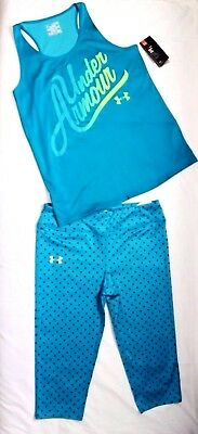 Nwt ~Girl's Under Armour Fitted Capri Leggings & Racer-Back Tank Youth Xl 18-20~