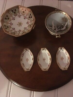 "Nippon Hand Painted ,Beaded,Gold designs,Swans,4""w,2. 5 t,Double Handle Floral"