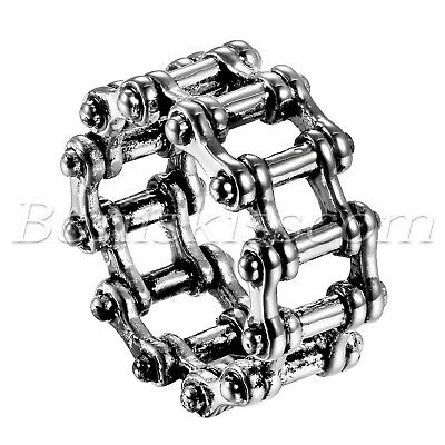 Men's Vintage Punk Stainless Steel Bicycle Bike Chain Link Ring Band Size 7-15
